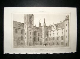 L'Universe C1850's Antique Print Chateau of Frederiksborg